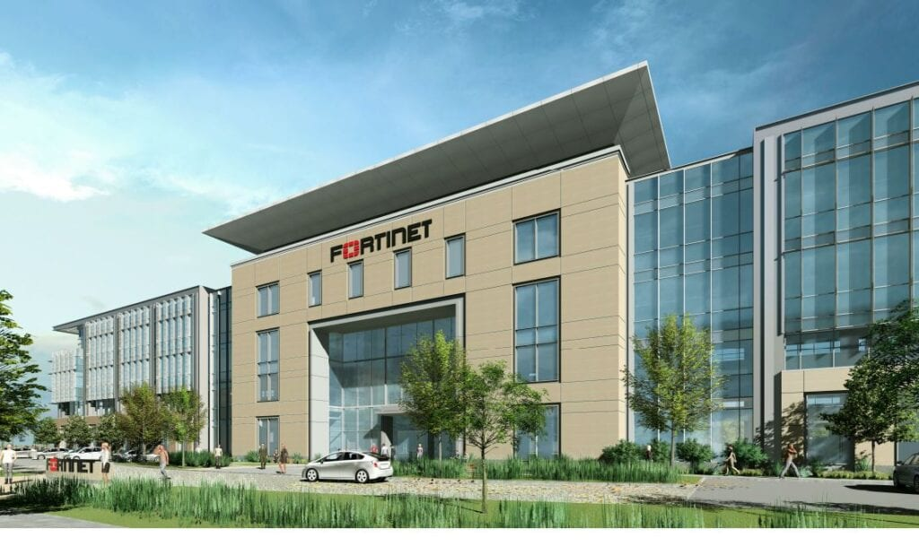 Rendering of Fortinet new office building in Sunnyvale California